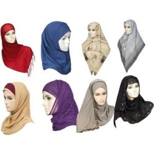 several differant styles of hijab