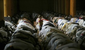 Kashmiri Muslims offer prayers inside the Jamia Masjid, or Grand Mosque, on the first Friday of Ramadan in Srinagar, India, Friday, Sept. 5, 2008. (AP Photo/Dar Yasin)