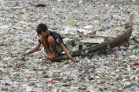 plastic in an Indonesian river