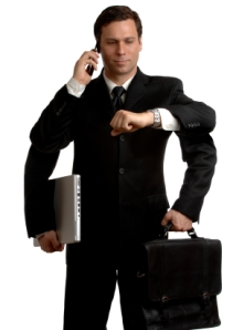 man with briefcase, watch and mobile phone